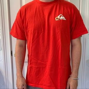 Red Quicksilver T-Shirt with Hibiscus Flowers